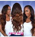 Synthetic wigs 2016 New Ombre synthetic lace front wig ombre wig heat resistant for black Women Long Mixed Color Fast Shipping