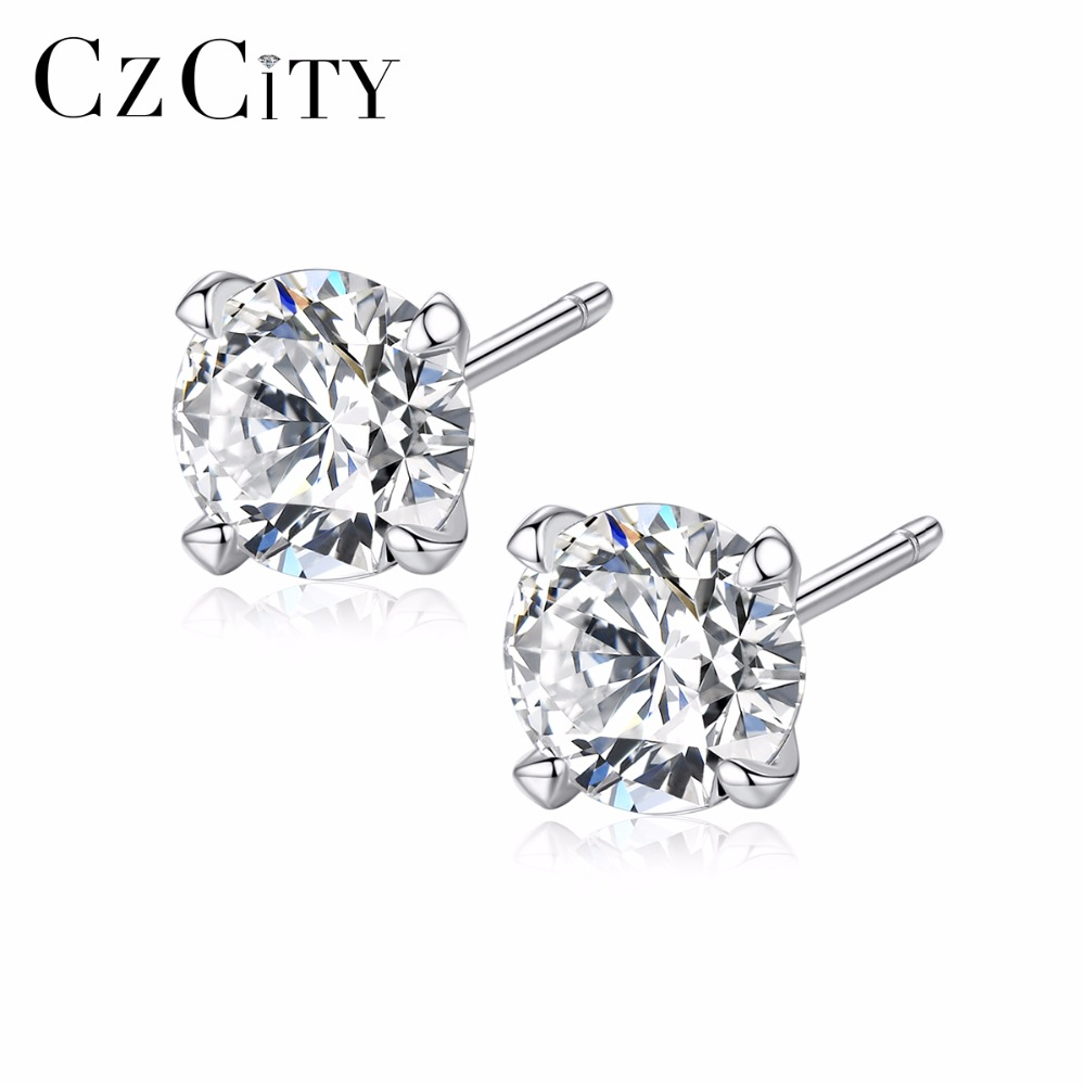 CZCITY Real 925 Sterling Silver Stud Earrings For Women Classic Four Claws Size 3mm /4mm/ 5mm/ 6mm Main Zircon Stone Ear Stud