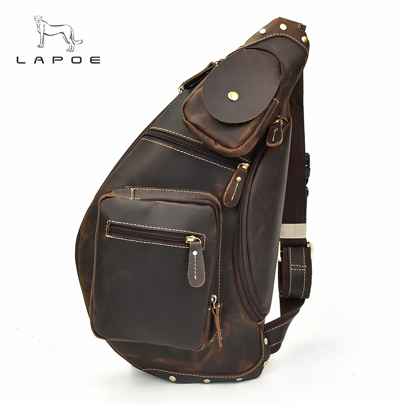 High Quality Men Crazy Horse Genuine Leather Vintage Sling Chest Back Day Pack Travel fashion Cross Body Messenger Shoulder Bag high quality men genuine leather cowhide vintage sling chest back day pack travel fashion cross body messenger shoulder bag