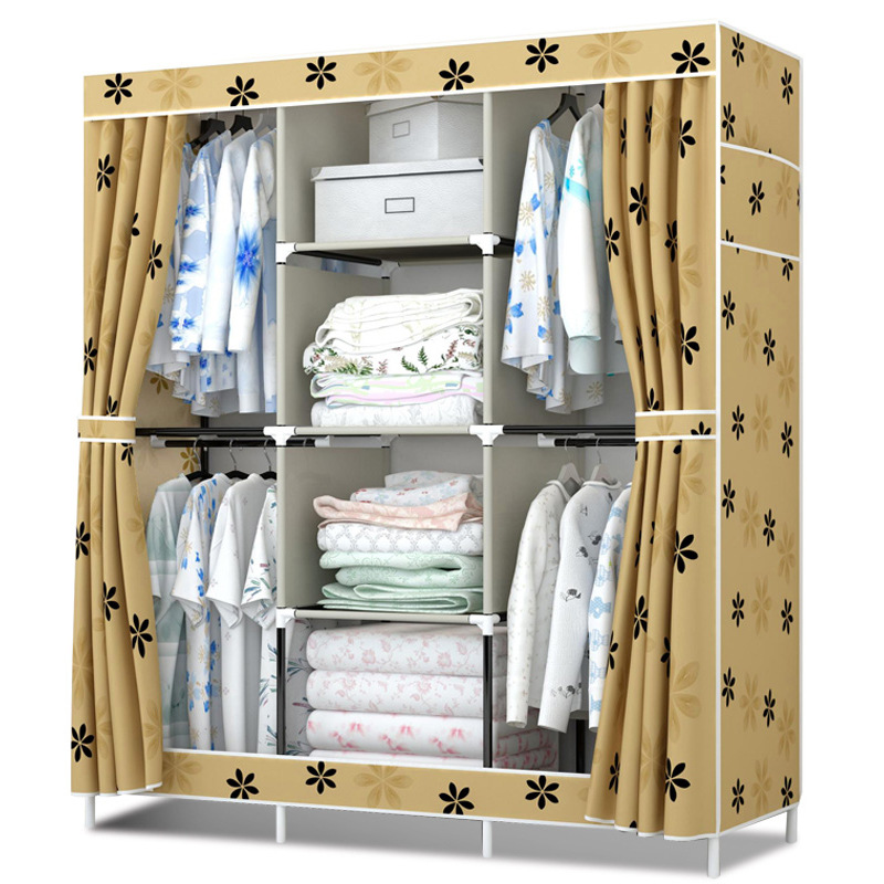 New cloth wardrobe simple 4 hanging closet reinforcement of Rent room assembly large capacity folding Oxford cloth cover cabinet