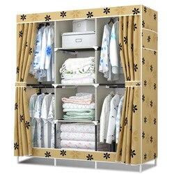 Novo guarda-roupa de pano simples 4 pendurado armário reforço do aluguel sala montagem grande capacidade dobrável oxford pano capa gabinete