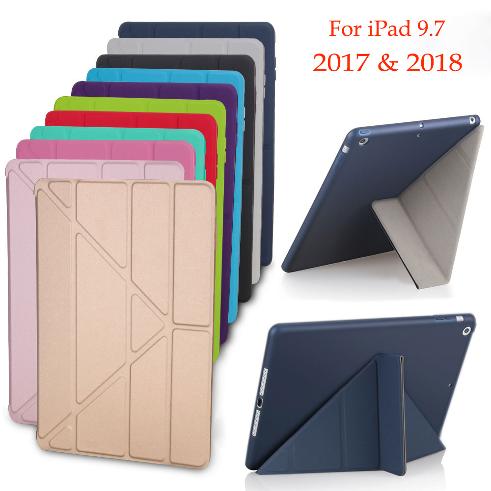 Case for ipad 9.7 tpu Back Cover for apple ipad 5 Flip Stand pu Leather Soft Case Smart Wake Up Sleep for iPad 9.7 2017 2018 lichee pattern protective pu leather case stand w auto sleep cover for google nexus 7 ii white