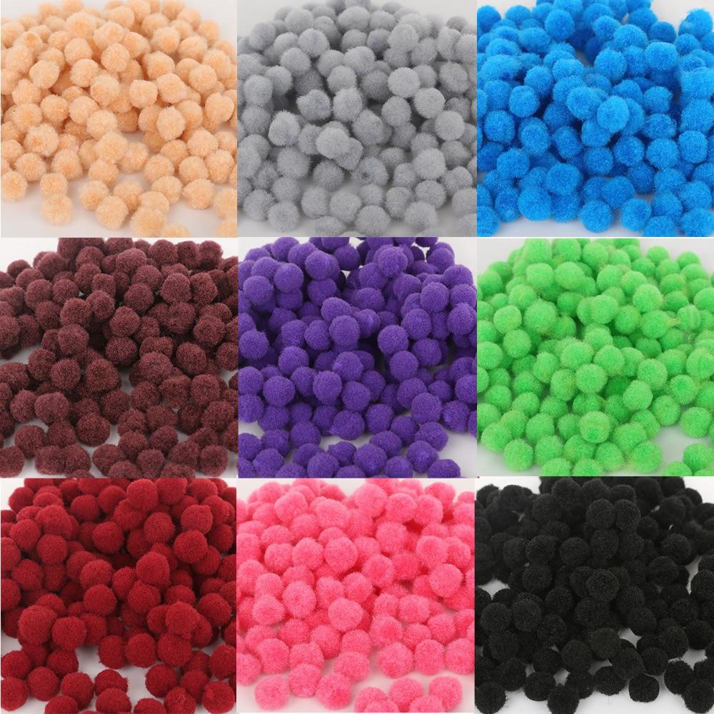 300pcs/lot 10mm Multicolor Soft Fluffy Pom Pom Ball Handmade Pompom For Kids Toys DIY Craft Supplies