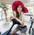 Free shipping 15 colors folding hat women's beach sun hats big brim summer straw hat girl sun-resistant female fashion brand hat