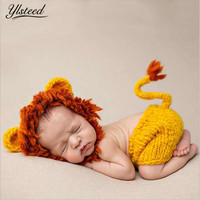 Infant Photography Props Cute Crochet Animal Costumes Baby Boy Outfits Set Lion Hat Pants with Tail Newborn Photo Accessories