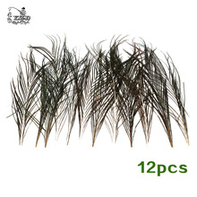 12 Pcs Strung Peacock Feather Herl 1/2 Yard of 10-12 inches Fly Tying Material Olive Green Lure Making for Wet Dry Nymph Flies