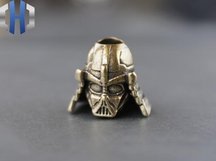 Pure Copper Brass Retro Old Samurai Sword Pendant Helmet Armor Creative EDC Umbrella Rope Pendant Keychain