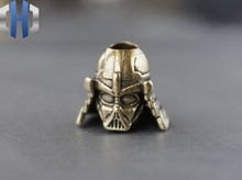 Pure Copper Brass Retro Old Samurai Sword Pendant Helmet Armor Creative EDC Umbrella Rope Keychain