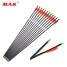 все цены на 28/30/32 Inches Spine 500 Carbon Arrow OD7.8mm with Replaceable Arrowhead for Compound/Recurve Bow Archery 12/24pcs per Pack онлайн