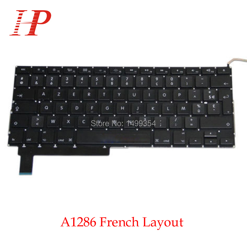 Original A1286 French Keyboard For Apple Macbook Pro 15'' With Backlight Replacement 2009-2012