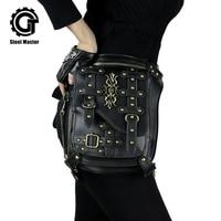 Vintage Rivet Retro Leg Bag Men Women Punk Gothic Waist Bag Fashion Black Crossbody Shoulder Bag Steampunk Leather Bags 2018