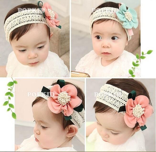 EG/_ 10pcs Baby Girls Infant Toddler Flower Headband Chiffon Hair Band Headwear B