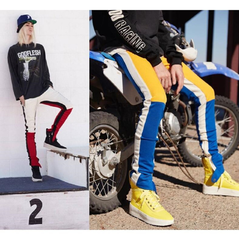 2018 new fashion street wear long pants man color block patchwork fit style man pants with opening the leg zipper Men's trousers