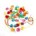 Hot! Lacing Contas de madeira Blocos de Animais Coração-forma da Caixa de Threading Brinquedo Educativo New Venda
