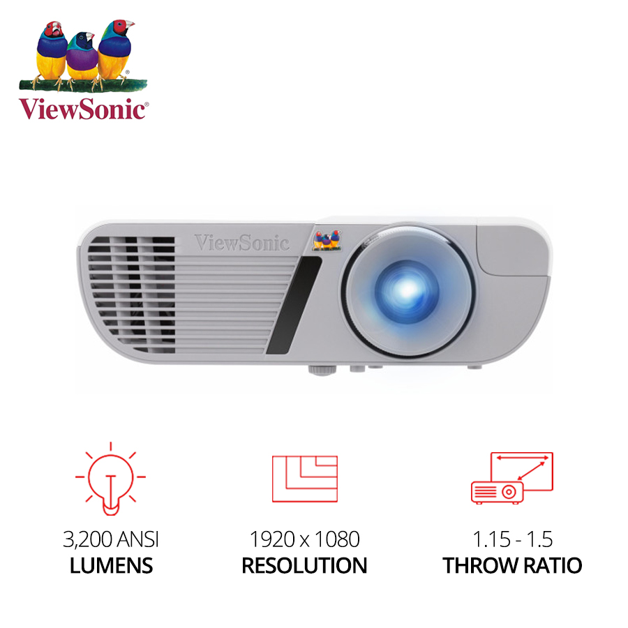 ViewSonic PJD7828HDL 1920 x 1080 Resolution 3200 ANSI Lumens, 1.15~1.5Throw Ratio Projector DLP Beamer Full HD video Home Cinema image