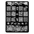 14.5*9.5 cm Diseño Rectángulo XL Stencil Stamping Nail Art Placa de La Imagen plantilla de la plantilla de metal de encaje de flores patrones de manicura HK08