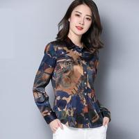 2018 Новый Весна и осень печатных шелковые рубашки блузки Женская мода слим с длинными рукавами Элегантная футболка с рисунком шелковые блуз