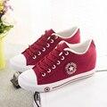 2016 Новый Низкие Толстые Подошве Холст Обувь Женский Увеличился Белые Туфли Белые Студенты Корейский Прилив Сдобы Случайные Shoes35-40