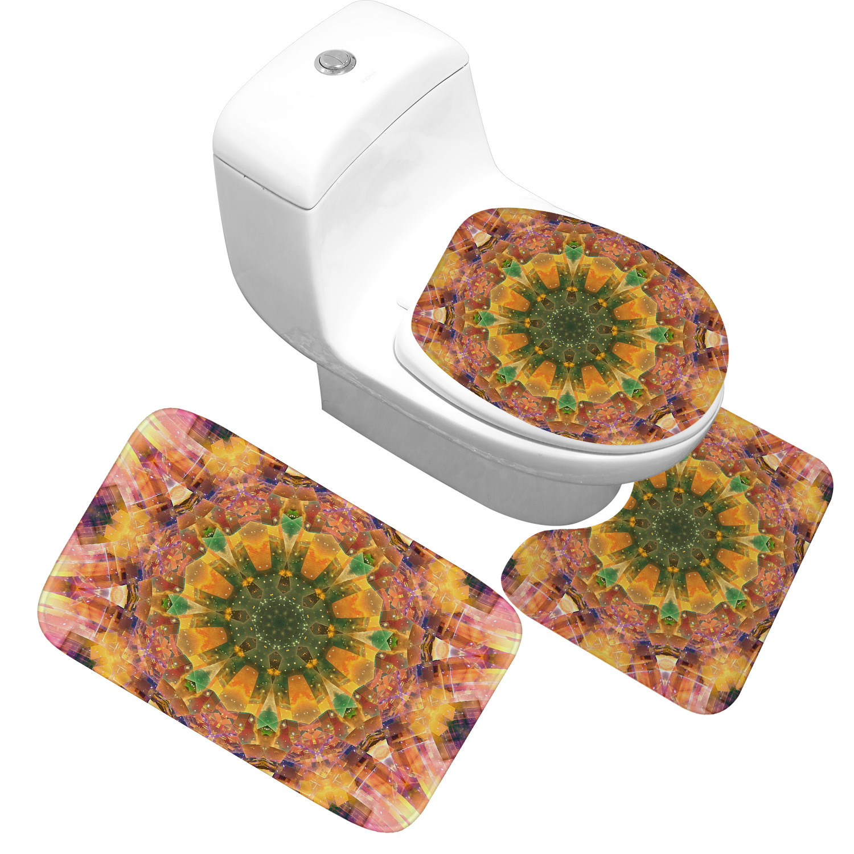 Bath Mat 3 Piece Set Classical Pattern Toilet Cover Foot Pad Non-slip Absorbent Bathroom Door Mat Flannel Soft Bathr Rug Carpet