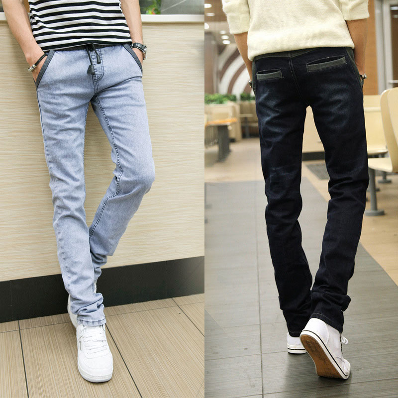 2015 new autumn style elastic waist with draw string jeans for men harem pencil pants casual