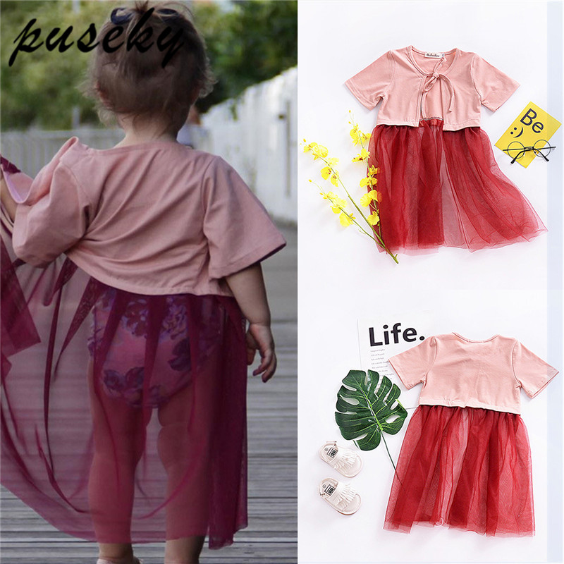 Puseky 2018 Sommer Baby Kleidung Mädchen Patchwork Mensh Shirts Outwear Prinzessin Kleider Für Mädchen Sonnenschutz Kleidung 0-24 Mt StraßEnpreis