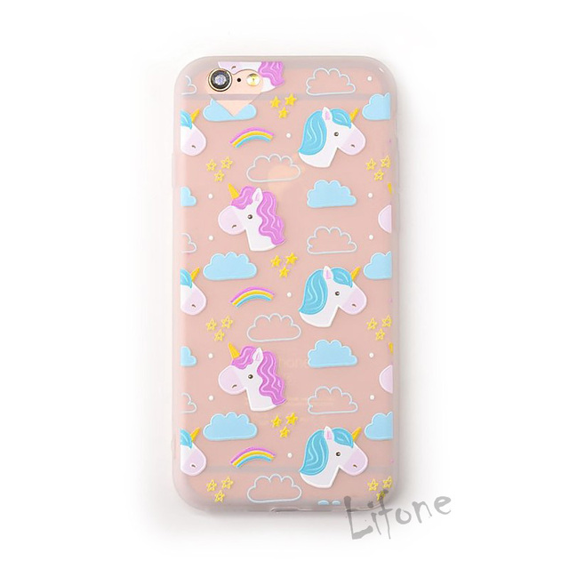 online store 2cb95 86d6c US $3.07 |Kerzzil Cute Unicorn Cases For iPhone 7 Case Cartoon Horse  Rainbow Camera holes Cover Soft Phone Cases For iphone7 6S PLus Capa-in  Fitted ...