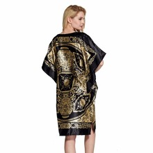 Women's Stylish Oriental Themed Black and Golden Nightgown