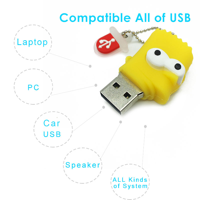 Image 3 - cute cartoon usb flash drive 128gb memory usb 2.0 16gb 4GB 8GB usb stick 64GB wholesale creative Simpson pendrive 32gb pen drive-in USB Flash Drives from Computer & Office