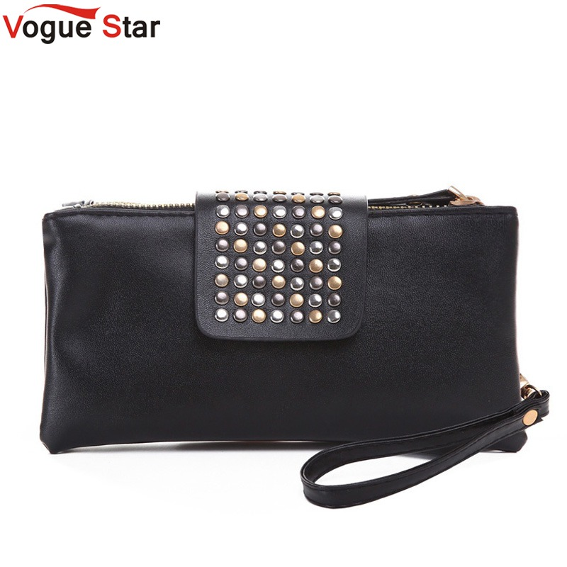 Vogue Star 2018 New Arrive Hot selling PU Leather fashion designer Rivet bag  women wallet Clutch  Bag  Foctory Price A17 yuanyu 2018 new hot free shipping real python leather women clutch women hand caught bag women bag long snake women day clutches