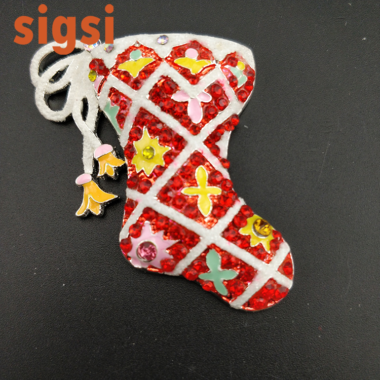 10pcs/free shipping vintage style 45mm flat back crystal and enamel Christams stocking b ...