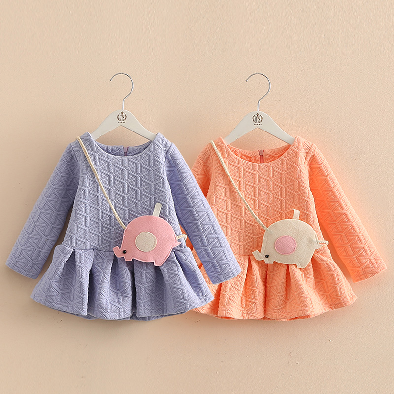 2017 Fashion Long Sleeve Dress New Autumn Children Girl Warm Dress Printed Dress Baby Gilrs Clothing Kids Clothes High Quality warm thicken baby rompers long sleeve organic cotton autumn