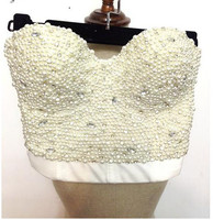 Sexy High End Hand Made Pearls Jewel Diamond Bralet Women S Bustier Bra Cropped Top Vest