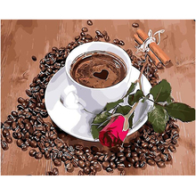 WEEN Coffee rose- DIY Oil Painting Drawing with Brushes Paint, Paint by Number Kit for Adults, Kids 40x50cm