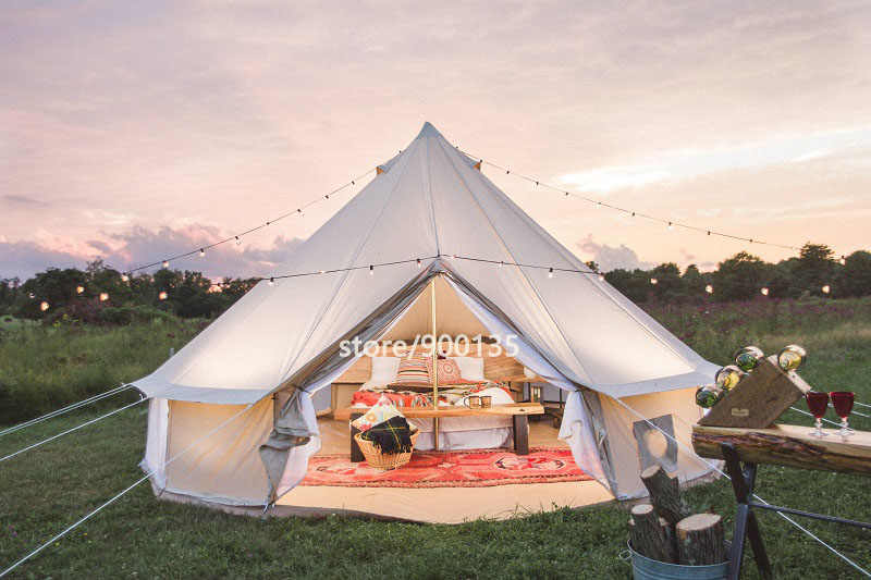 3m 4m 5m 6m Waterproof Cotton Canvas Bell Tent Luxury