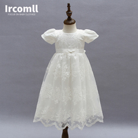 High Quality 3PCS Baby Girls Princess Dress Christening Gown Dresses Hat Shawl Infantis For Newborn Birthday