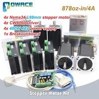 [EU Stock] 4 Axis Nema34 98mm 878oz in Stepper Motor 4.0A + Driver 6A/80VDC 256 Microstep + 400W 48V Power Supply