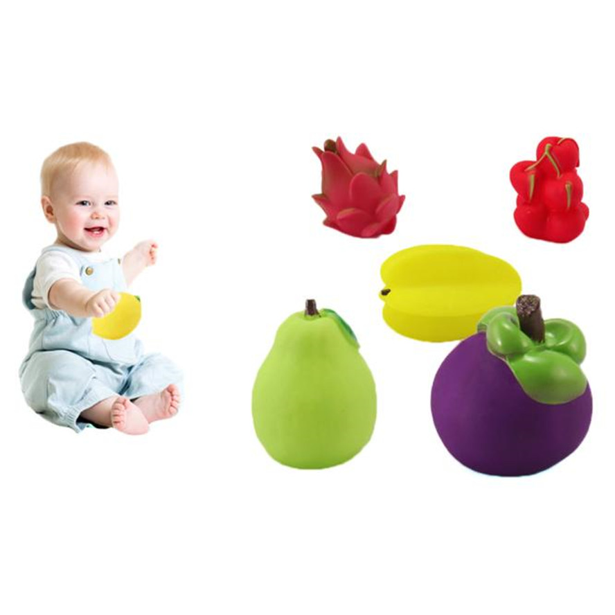 HIINST bathroom toy 2017 6Pcs Baby Toddler Cute Soft Rubber Float Sound Baby Wash Bath Play Fruits Toys*R Drop