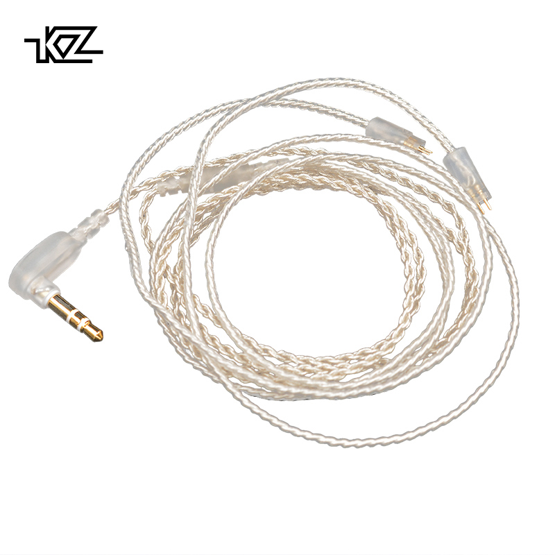 KZ Silver plated Upgrade Earphone Cable Detachable Audio Cord 3.5mm 3-pole Jack for ZS3/ZS5/ZS6/ZSA/ZS10/AS10/ES4 HeadphonesKZ Silver plated Upgrade Earphone Cable Detachable Audio Cord 3.5mm 3-pole Jack for ZS3/ZS5/ZS6/ZSA/ZS10/AS10/ES4 Headphones