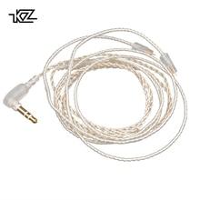 Плотным верхним ворсом KZ с серебряным покрытием обновления кабель наушников съемный аудиошнур 3,5 мм 3-сваевыдрегиватель для ZS3/ZS5/ZS6/ZSA/ZS10/AS10/ES4 наушники