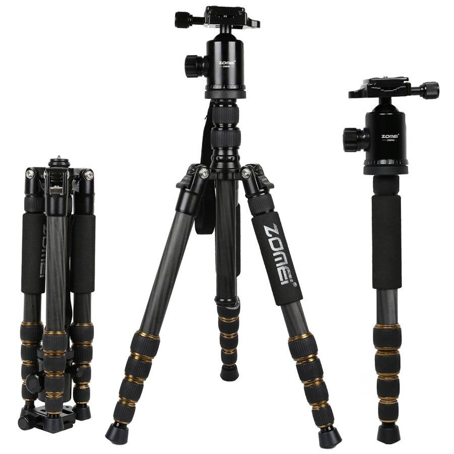 цена на Original Zomei Z699C Camera Stand Monopod Tripod Stand Ball Head Holder For Digital DSLR Camera Top Quality Carbon Fiber Cameras