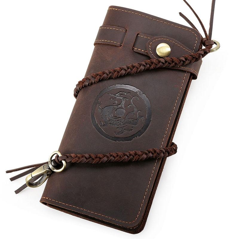 Vintage Dragon Tiger Embossed Wallet Men Genuine Leather Hand Clutch Bag Boy Long Purse Money Card Holder Knitting Rope Wristlet dragon card 1l