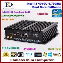Безвентиляторный barebone пк процессор Intel i3 4010u, Lan, 2 жк-hdmi 6 COM rs232, Wi-fi, Usb3.0