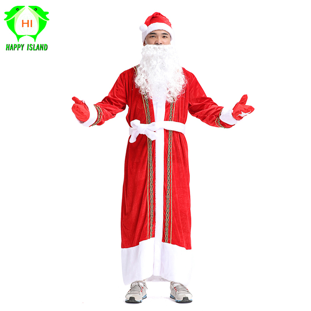 2019 New Men Christmas Suits Santa Claus Costume 5 Pcs/Set Christmas Red Cosplay Dress Xmas Costume for Adult Women Boy