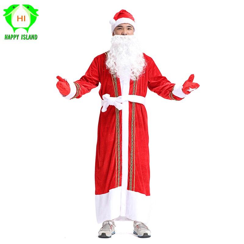 2019 Nouveau Hommes De Noël Santa Claus Costume 5 pcs/ensemble De Noël Rouge Cosplay Robe De Noël Costume pour Adulte Femmes Garçon