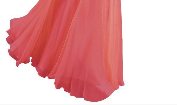 [Распродажа] шифоновое вечернее платье Длинное Элегантное длинное вечернее платье с блестками и бисером на шнуровке сзади милое - Цвет: Watermelon