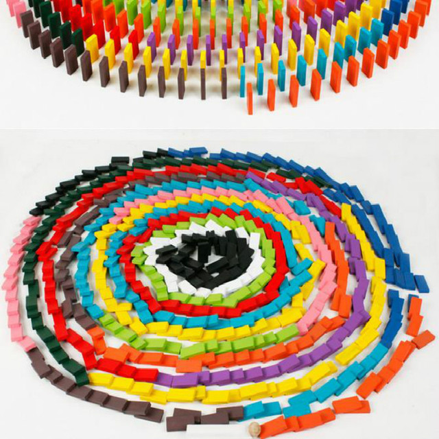 120pcs Wooden Kids Toy Bright Coloured Tumbling Dominoes Games For ...