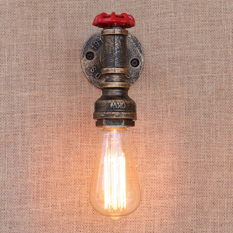 GZMJ Vintage Water Pipe Wall LED Lamp Industrial Decor E27 Sconce Wall Light Antique Rust Loft Wandlamp for Bar Bedroom Bathroom
