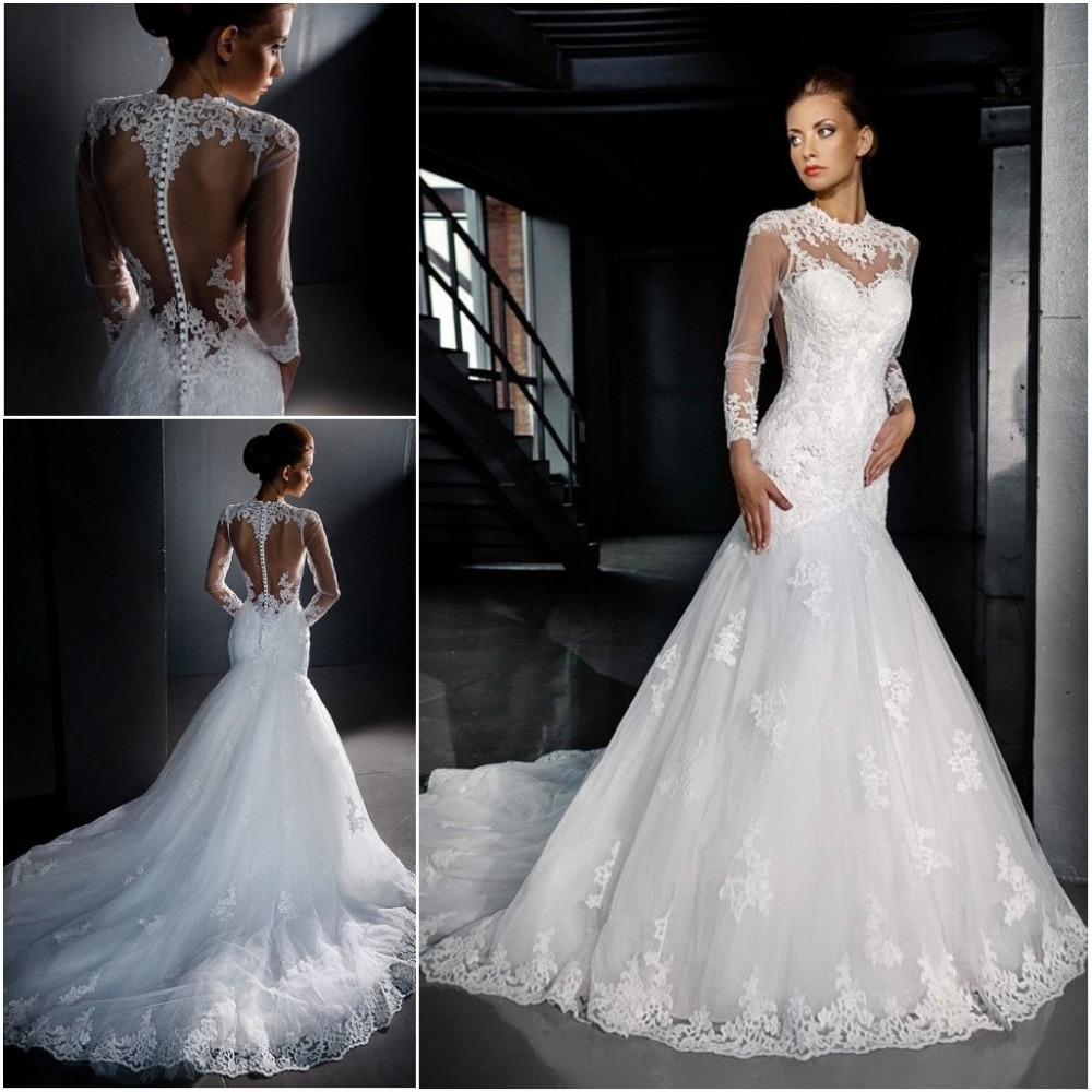 Long sleeve lace backless wedding dress for Lace sleeve backless wedding dress
