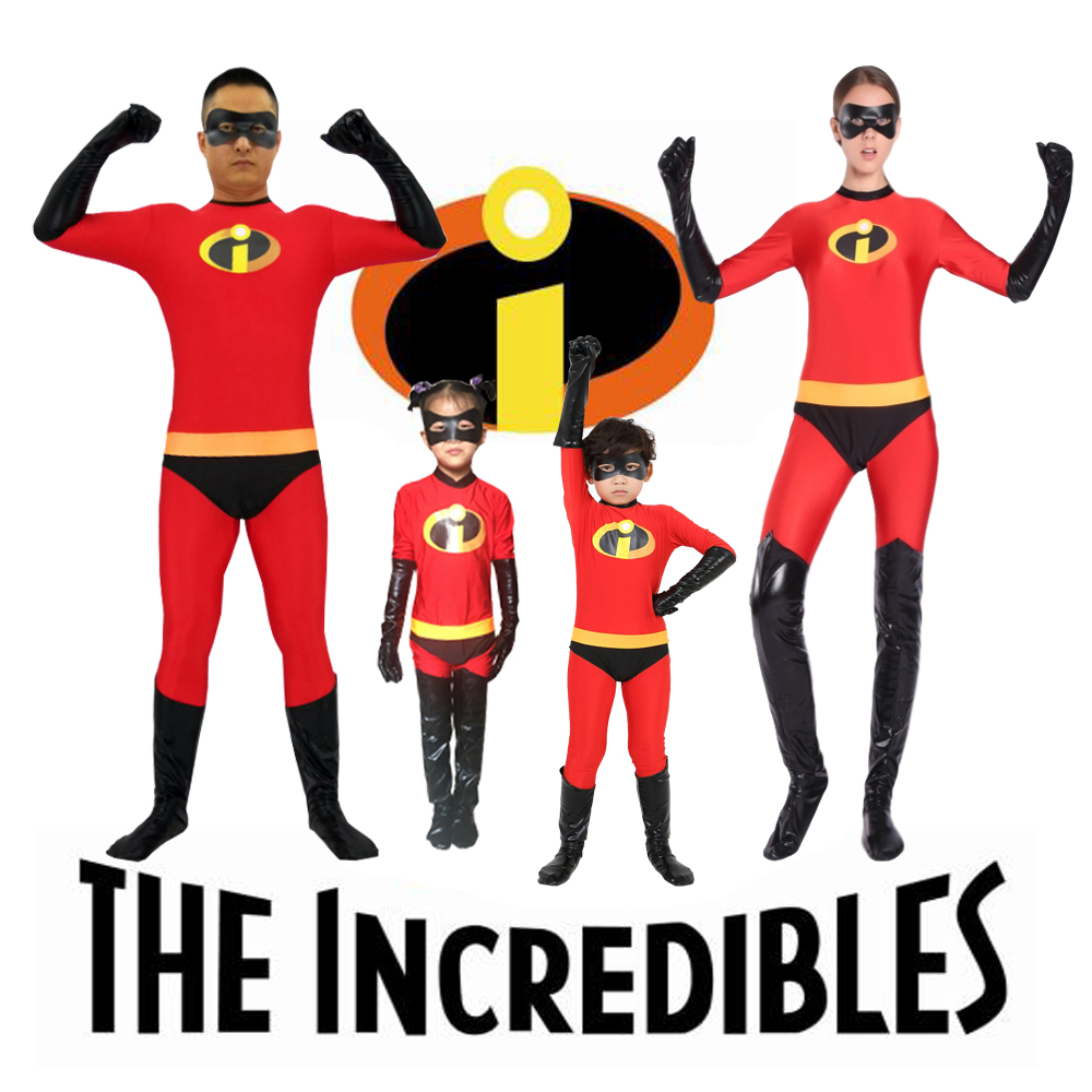 The Incredibles Super Heros Kids Adult Size Suits Cosplay Costume Halloween Christmas Clothes Unisex Superhearo Elastigirl