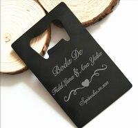 50x Personalized Wedding Gift for Guest Black Credit Card Bottle Opener Laser Engraved Bottle Opener Personalized Wedding Favor